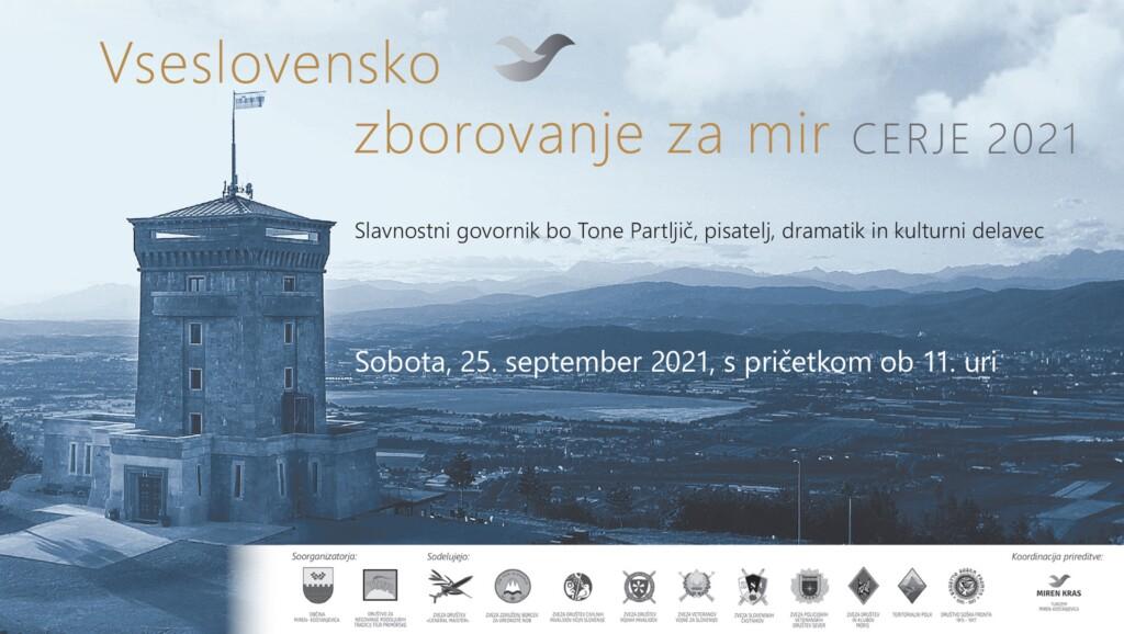 Vseslovensko zborovanje za mir - Cerje 2021. 25. 9. 2021 ob 11.